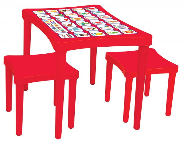 Story Table with 2 x Stools - Red
